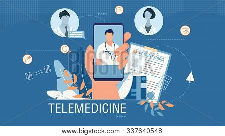 Telemedicine Banner Advertising Medical Mobile App. Cartoon Human Hand Holding Smartphone With Worki