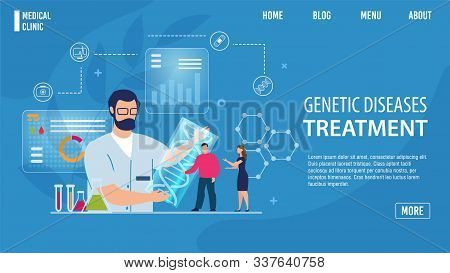Genetic Disease Treatment Online Service Flat Landing Page Trendy Design. Physical Disorders Prevent