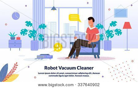 Technological Innovations In Home Cleaning Trendy Vector Advertising Banner, Promo Poster Template.