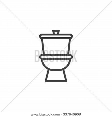 Toilet, Lavatory Line Icon. Linear Style Sign For Mobile Concept And Web Design. Toilet Bowl Outline