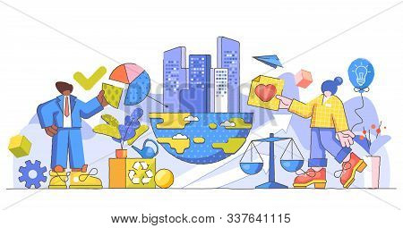 Corporate Responsibility Creative Concept Vector Illustration. Ethical And Honest Persons Concept. S