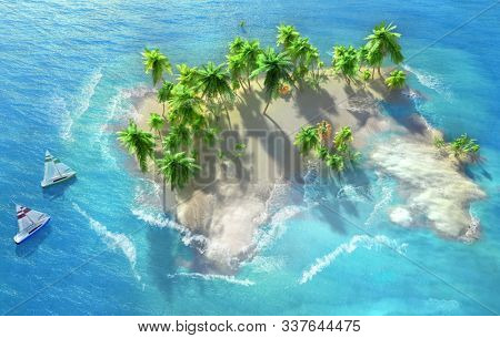 Sandy beach on a tropical island with coconut palms. Small sailboats by the shore. Splashing waves. 3D illustration.