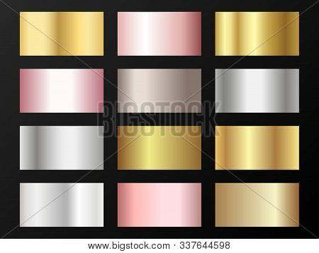 Cool Golden, Platinum, Bronze, Rose Gold Gradients. Metallic Foil Texture Silver, Steel, Chrome, Pla