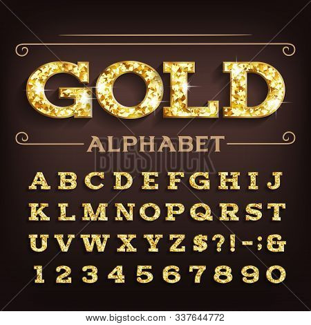Gold Alphabet Font. Retro Golden Beveled Letters And Numbers With Shadow. Stock Vector Typescript Fo