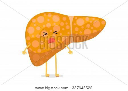 Sick Unhealthy Cartoon Liver Character Suffers From Jaundice Or Hepatitis And Suffering Pain. Human