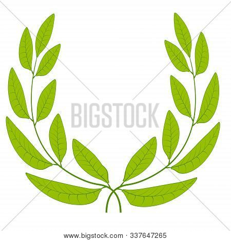 Laurel Wreath Green Leaves Icon Sign Symbol Of Glory, Victory Or Peace, Vector Laurel Wreath Sign Of
