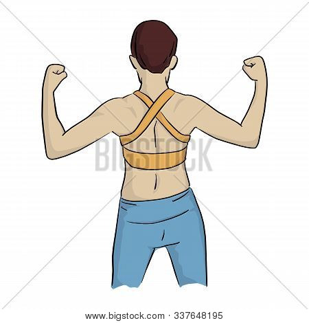 Healthy Woman In Yellow Vest To Flex His Back Muscles Vector Illustration Sketch Doodle Hand Drawn W