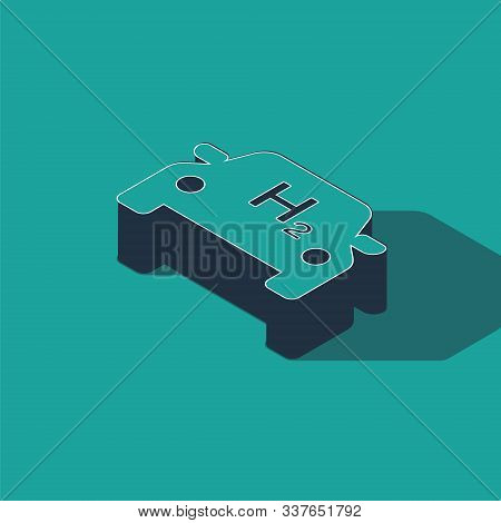 Isometric Hydrogen Car Icon Isolated On Green Background. H2 Station Sign. Hydrogen Fuel Cell Car Ec