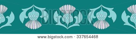 Scottish Highland Thistle Seamless Border Vector Design In Purple And Green.