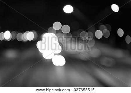 Urban Traffic. Blurred Car Lights Night. Urban Night. Lights Defocused Background. Night City Lights