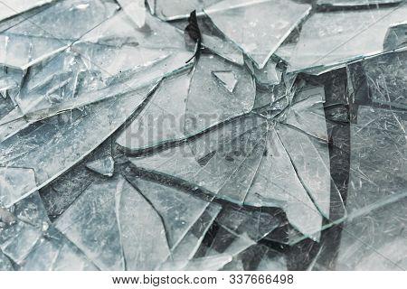 Broken Glass Is Scattered A Lot. Glass Shards. Insurance, Damage, Decline, Destruction, Vandalism, C