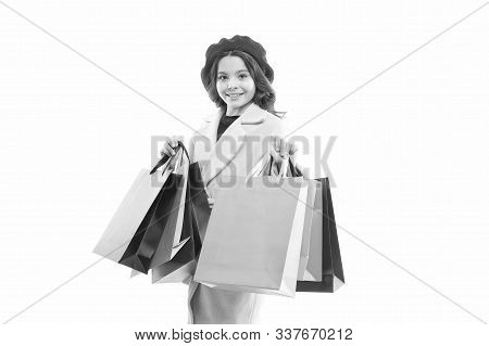 Great Choices Great Purchases. Happy Small Child Hold Purchases In Paperbags. Little Girl Smile With