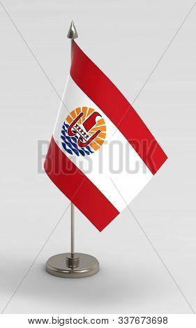French Polynesia Table Flag On A White Background. French Polynesia Flag; 3d Render.