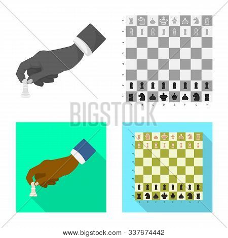 Vector Illustration Of Checkmate And Thin Symbol. Collection Of Checkmate And Target Stock Symbol Fo