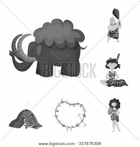 Vector Design Of Survival And History Sign. Set Of Survival And Prehistory Vector Icon For Stock.