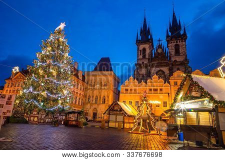 Prague, Czech Republic - 3.12.2019: Christmas Market With Christmas Tree On The Old Town Square In P
