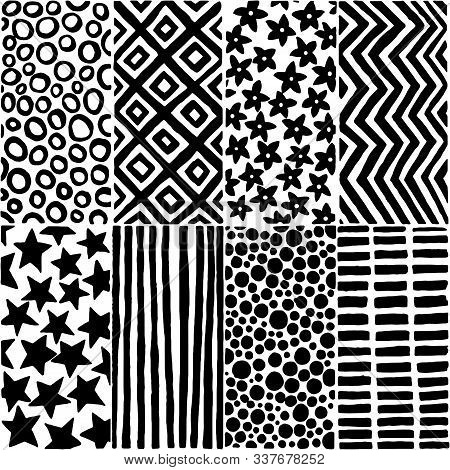 Seamless Black And White Pattern In Doodle Style. Hand-drawn Ink Print For Textile.