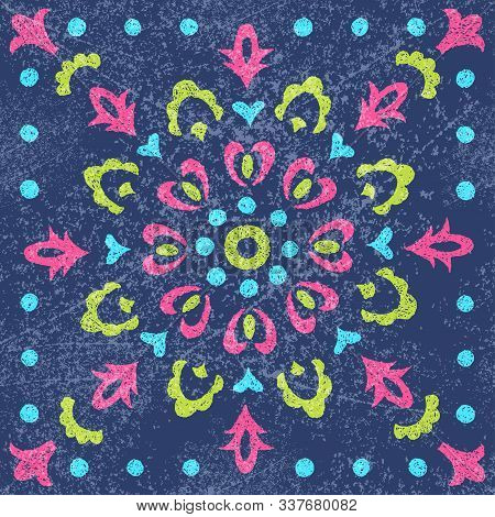 Seamless Square Print For Textile. Ornament For A Scarf, Bandana, Headdress. Ethnic And Tribal Motif