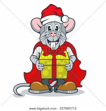 Funny Rat Character In Santa Claus Clothes And With A Gift In Paws
