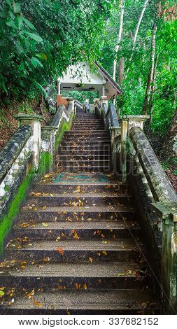 Stairs To The Kathu Waterfall In Beautiful Rain Forest In Kathu District, Phuket, Thailand