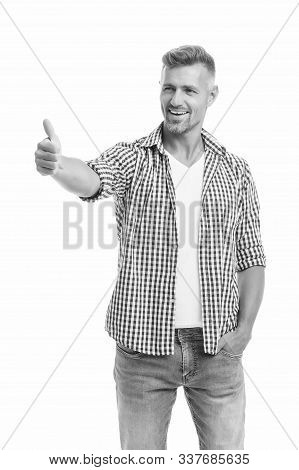 Good Job. Gesturing And Nonverbal Communication Concept. Man Bearded Hipster Stylish Beard White Bac
