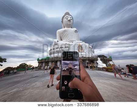 Taking Picture Of Big Buddha Statue - Maravija Buddha Statue On Nakkerd Hill, Phuket, Thailand 20/11