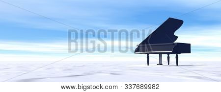 Classical Black Grand Piano In The Winter Nature - 3d Render