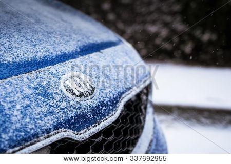Minsk, Belarus - November 26, 2019: Kia Logo In The Bonnet Of Kia Car With Snow In Winter