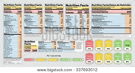 Nutrition Facts Label. Vector. Food Table Information With Daily Value. Data List Ingredients, Calor