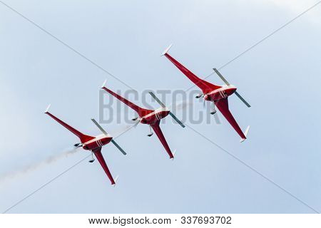 Cadiz, Spain-sep 09:  Aircraft Of The Patrouille Reva Taking Part In An Exhibition On The 5th Airsho