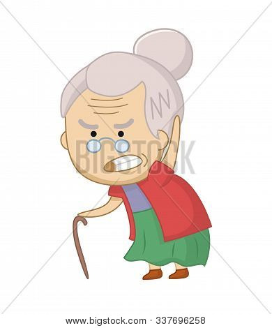 Vector Illustration Of Angry Old Woman Character. Funny Grumpy Grandmother. Senior Chibi Woman.