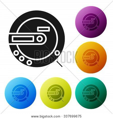 Black Music Cd Player Icon Isolated On White Background. Portable Music Device. Set Icons Colorful C