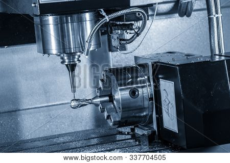 The  Multi-axis  Cnc Milling Machine  Cutting The Hi-precision Sample Part By Solid Ball Endmill Too