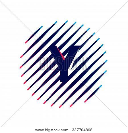 Y Letter Logo On Sloping Fast Speed Lines Inside A Circle. Vector Elements For Sportswear, T-shirt,