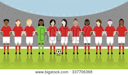 Line Up Of Eleven Multinational Female Soccer Players In Red Kit On Football Pitch. Eps File Availab