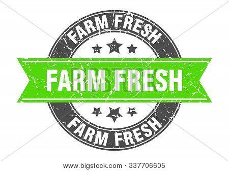 Farm Fresh Round Stamp With Green Ribbon. Farm Fresh