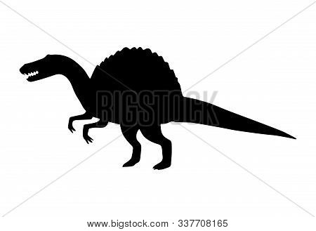 Vector Black Spinosaurus Dinosaur Silhouette Isolated On White Background