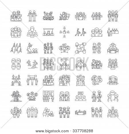 Fellowship Linear Icons, Signs, Symbols Vector Line Illustration Set