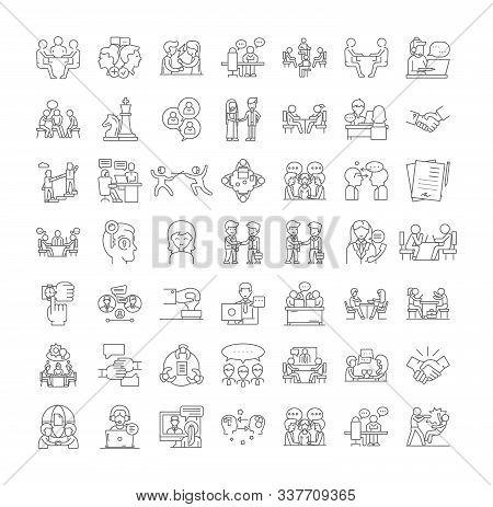 Business Negotation Linear Icons, Signs, Symbols Vector Line Illustration Set