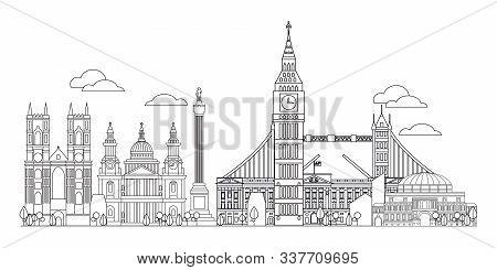 Panoramic Vector Line Art Illustration Of Landmarks Of London, England. London City Skyline Vector I