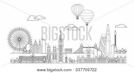 Monochrome Vector Line Art Illustration Of Landmarks Of London, England. London City Skyline Panoram
