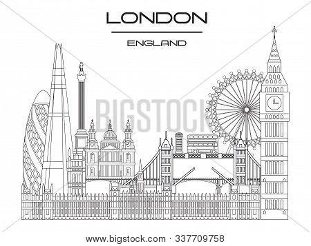 Vector Line Art Illustration Of Landmarks Of London, England. London City Skyline Monochrome Vector