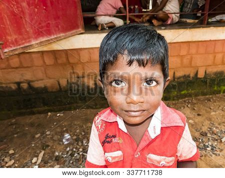 Puduchery, India - December Circa, 2018. Unidentified Poor Indian Little Boy With Shy Coy Expression