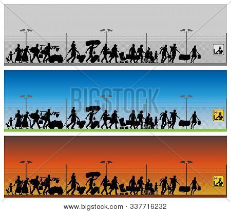 Immigrants Silhouette In Front Of Boundary Wires. The Silhouette Objects And Backgrounds Are In Diff