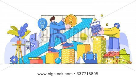 Growth Creative Concept Big Limbs Quirky Person Modern Vector Illustration. Successful Businessman P