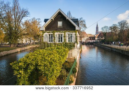 Strasbourg, France - November 30, 2019: Traditional Alsatian Half-timbered Houses In Petite France,