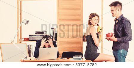 Flirting With Coworker Coffee Break. Woman Flirting With Coworker. Woman Attractive Working Man Coll