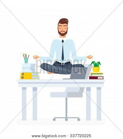 Meditating Office Employee Flat Illustration. Businessman Practicing Yoga Cartoon Vector Character.