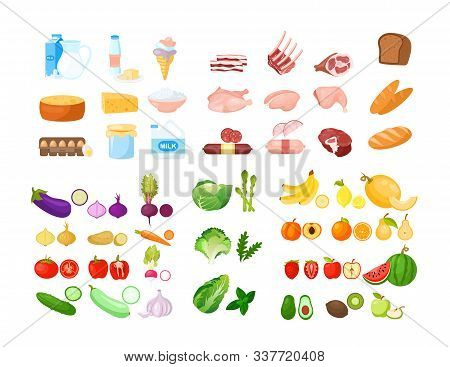 Vector Illustration Of Food Cartoon Collection. Fruits, Vegetables, Bakery, Dairy And Meat Produce.