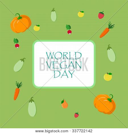 World Vegan Day Vector Vegetable Illustration. Fresh And Healthy Veggies Background. Healthy Nutriti